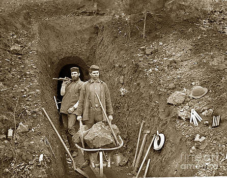 California Views Mr Pat Hathaway Archives - Miners by mine shaft opening California circa 1900