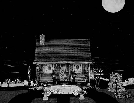 Miniature B/w Log Cabin Scene With The Classic 1936 Mercedes Benz Special Roadster by Leslie Crotty