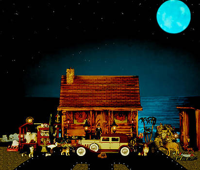 MINIATURE LOG CABIN SCENE WITH OLD TIME VINTAGE CLASSIC 1930 Packard LaBaron in color by Leslie Crotty