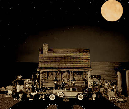 MINIATURE LOG CABIN SCENE WITH OLD VINTAGE CLASSIC 1930 Packard LaBaron in SEPIA COLOR by Leslie Crotty