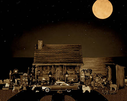 Miniature Log Cabin Scene With The Old Vintage Classic 1960 Plymouth Fury In Sepia Color by Leslie Crotty