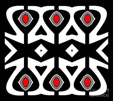 Minimalism Abstract Black White Red Pattern Art No.177. by Drinka Mercep