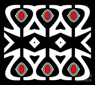 Minimalism Abstract Black White Red Pattern Art No.177. by Drinka Mercep