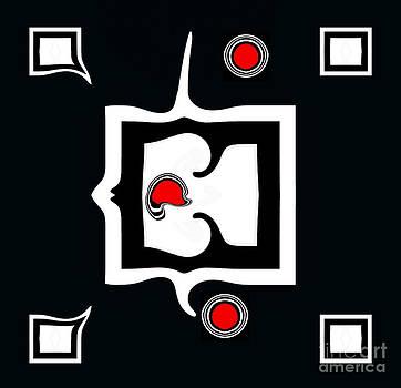 Minimalism Abstract Geometric Black White Red Art No.390. by Drinka Mercep