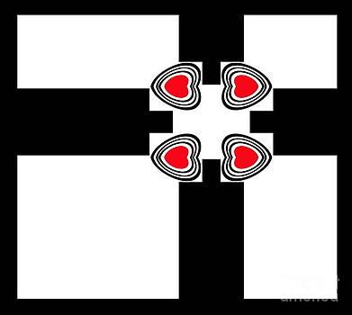 Minimalism Black White Red Hearts Abstract Art No.167. by Drinka Mercep