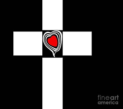 Minimalist Art Black White Red Heart Abstract No.153. by Drinka Mercep