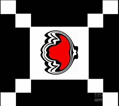 Minimalist Art Geometric Black White Red Abstract Art Print No.201. by Drinka Mercep