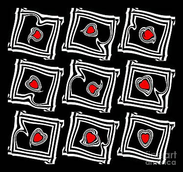 Minimalist Geometric Pattern Op Art Black White Red Abstract Prints No.377. by Drinka Mercep