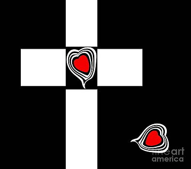 Minimalism Black White Red Art Hearts No.150. by Drinka Mercep