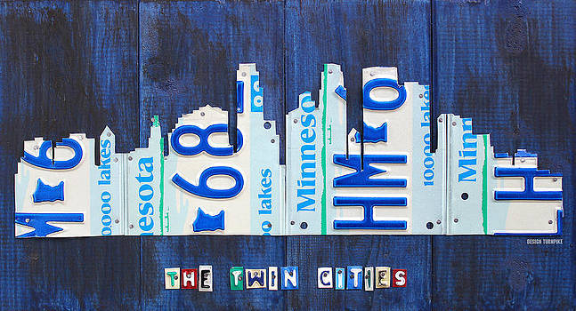 Design Turnpike - Minneapolis Minnesota City Skyline License Plate Art The Twin Cities