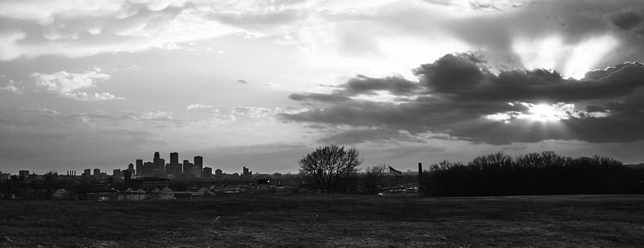 Minneapolis Skyline Sun Rays by Christopher Broste
