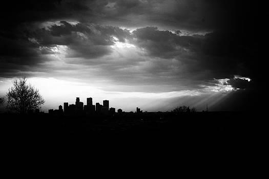 Minneapolis Skyline SunRays Black and White by Christopher Broste