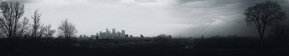 Minneapolis Skyline Wide Black and White by Christopher Broste