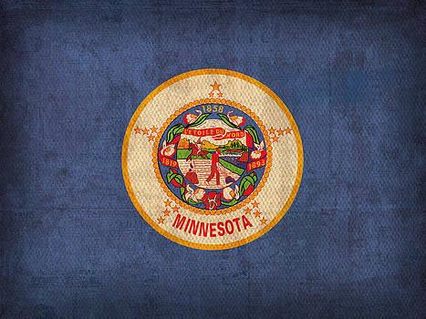 Design Turnpike - Minnesota State Flag Art on Worn Canvas