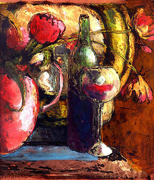 Mirror with Tulips and Wine by Daniel Bonnell
