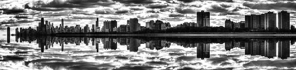 Mirrored Chicago Skyline Black and White by Christopher Broste