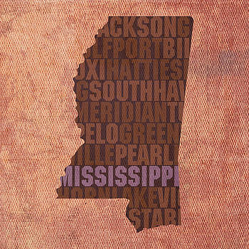 Design Turnpike - Mississippi Word Art State Map on Canvas