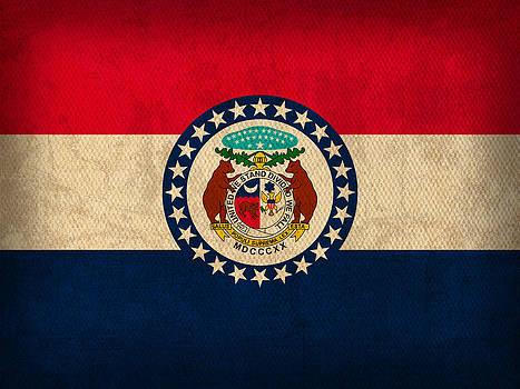 Design Turnpike - Missouri State Flag Art on Worn Canvas