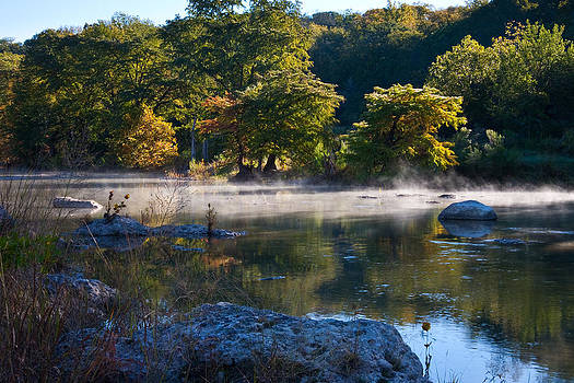 Mist On The Pedernales River by Mark Weaver
