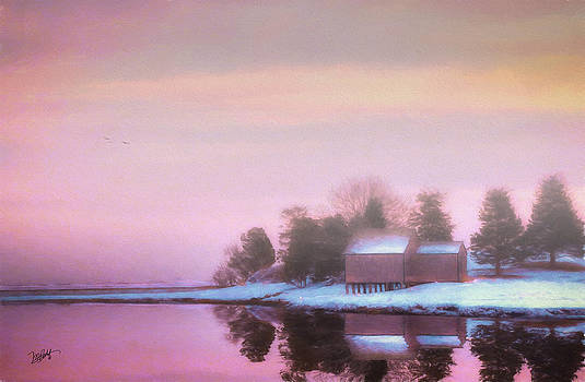Mist Over The Boathouse by Michael Petrizzo
