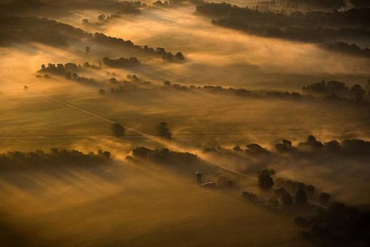 Misty morning farmland by Mike Lanzetta