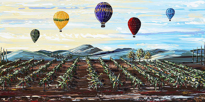 Misty Morning -Hot Air Balloons Over Vineyard by Christine Krainock