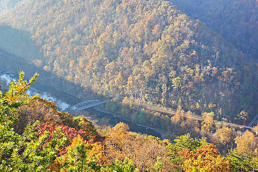 Simply  Photos - Misty morning view of the New River Gorge Old County Road 82 Bri