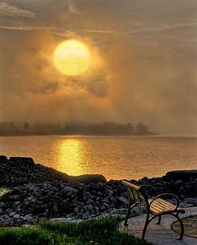 Misty Sunset at the Bay by Jeff S PhotoArt