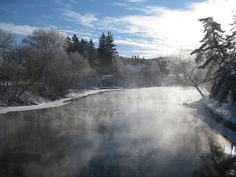 Misty Winter River by Carolyn Reinhart