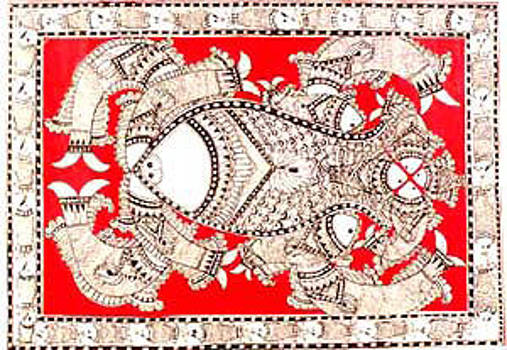 Mithila or Madhubani Painting by Sucheta Jha