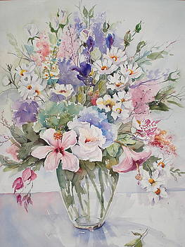 Mixed Bowl Flower Arrangement by Marion Langton