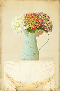 Mixed Hydrangea in Old Can by Susan Gary
