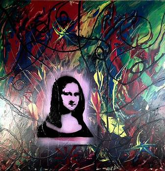 Mixed Media Abstract Post Modern Art By Alfredo Garcia Mona Lisa 2 by Alfredo Garcia