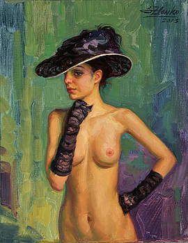 Model in black hat. by Serguei Zlenko