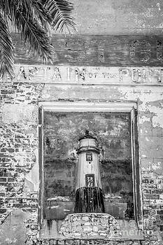 Ian Monk - Model Key West Lighthouse in Old Brickwork - Black and White