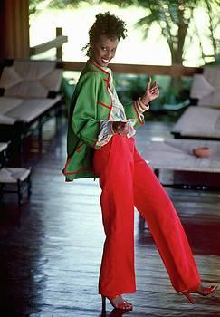 Model Wearing An Ungaro Ensemble by Kourken Pakchanian