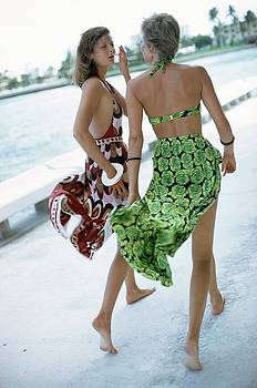 Models Wearing Patterned Swimsuits And Skirts by Kourken Pakchanian