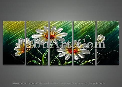 Modern Green and White Metal Flower Wall Art by FabuArt