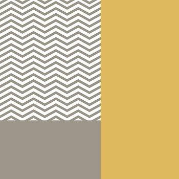 Modern Grey Chevrons Yellow Colorblock by Tracie Kaska