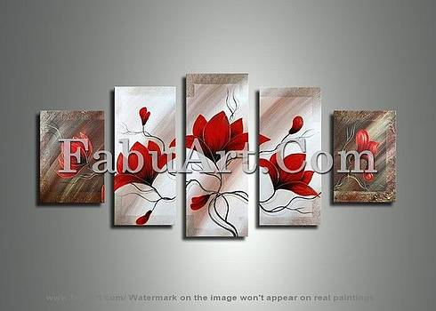 Modern Red Flower Painting -310- 64x36in by FabuArt