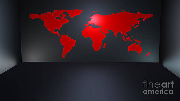 Modern world map in room by Monika Wisniewska