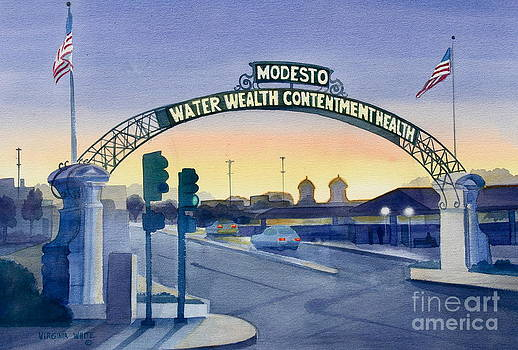 Modesto Arch at Sunset by Virginia White