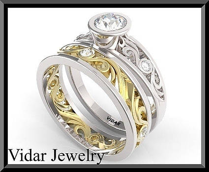 Moissanite And Diamond 14k White And Yellow Gold Wedding Ring Set  by Roi Avidar