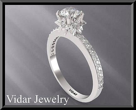 Moissanite And Diamond 14k White Gold Engagement Ring by Roi Avidar