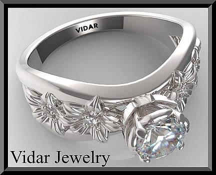 Moissanite And Diamond 14k White Gold Flower Engagement Ring by Roi Avidar