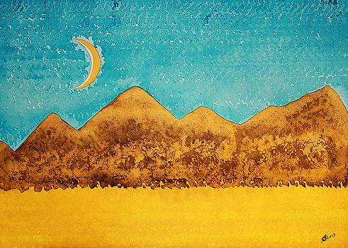 Mojave Moonrise original painting by Sol Luckman