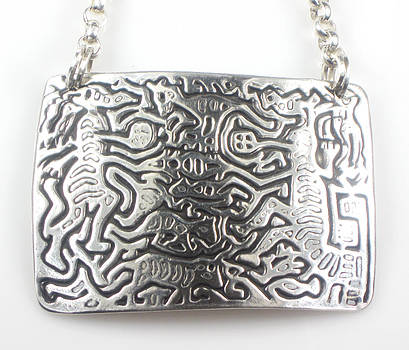 Mola Folklore Creatures Fine Silver Necklace by Vagabond Folk Art - Virginia Vivier