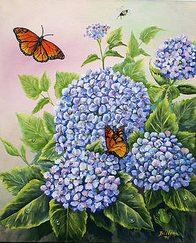 Monarchs and Hydrangeas by Gail Butler