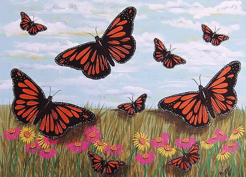 Monarch Butterflies with Wild Daisies  by Cindy Micklos