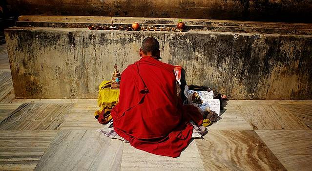 Monk in Bodhgaya by Greg Holden
